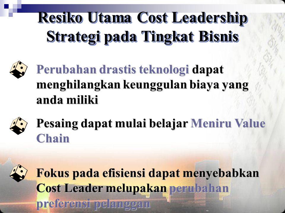 Resiko Utama Cost Leadership Strategi pada Tingkat Bisnis
