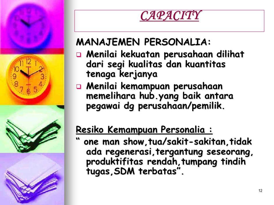 CAPACITY MANAJEMEN PERSONALIA:
