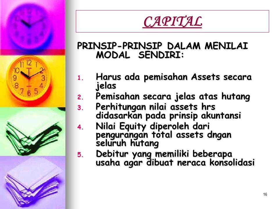 CAPITAL PRINSIP-PRINSIP DALAM MENILAI MODAL SENDIRI: