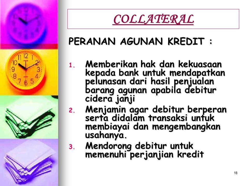 COLLATERAL PERANAN AGUNAN KREDIT :