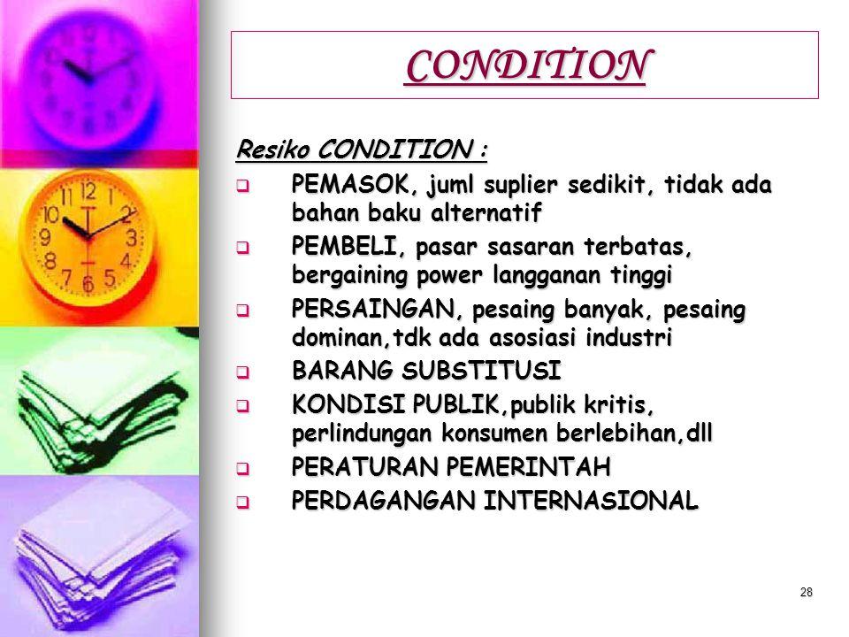 CONDITION Resiko CONDITION :
