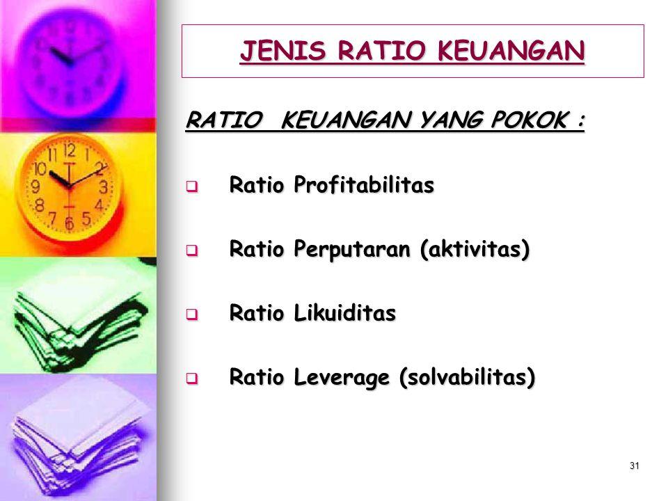 JENIS RATIO KEUANGAN RATIO KEUANGAN YANG POKOK : Ratio Profitabilitas