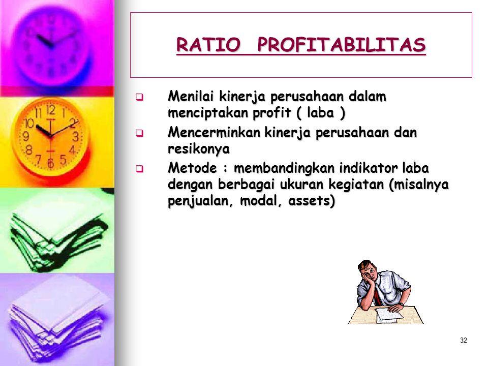 RATIO PROFITABILITAS Menilai kinerja perusahaan dalam menciptakan profit ( laba ) Mencerminkan kinerja perusahaan dan resikonya.