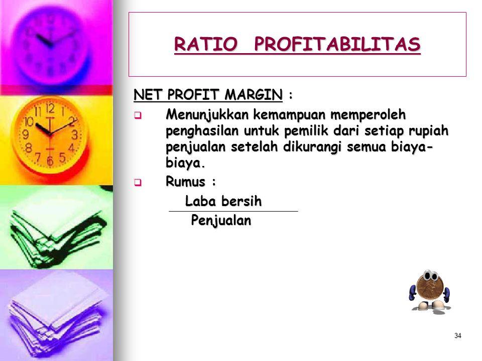 RATIO PROFITABILITAS NET PROFIT MARGIN :