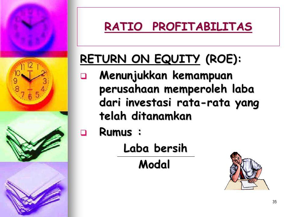 RATIO PROFITABILITAS RETURN ON EQUITY (ROE): Menunjukkan kemampuan perusahaan memperoleh laba dari investasi rata-rata yang telah ditanamkan.