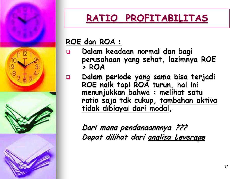 RATIO PROFITABILITAS ROE dan ROA :