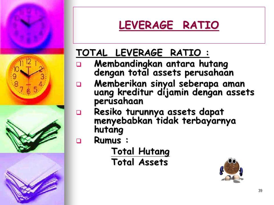 LEVERAGE RATIO TOTAL LEVERAGE RATIO :