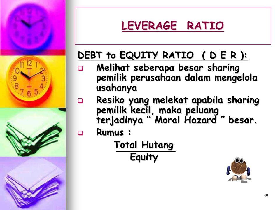 LEVERAGE RATIO DEBT to EQUITY RATIO ( D E R ):