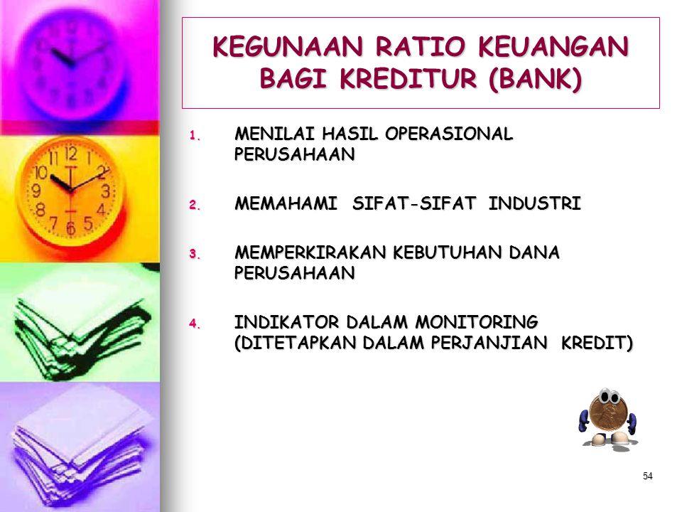 KEGUNAAN RATIO KEUANGAN BAGI KREDITUR (BANK)