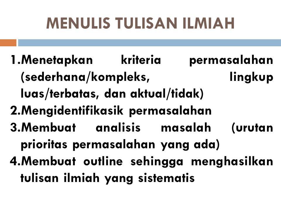 MENULIS TULISAN ILMIAH
