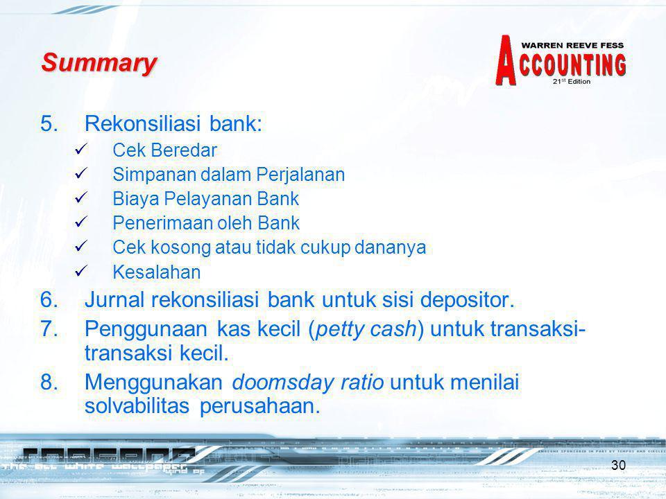 Summary Rekonsiliasi bank: