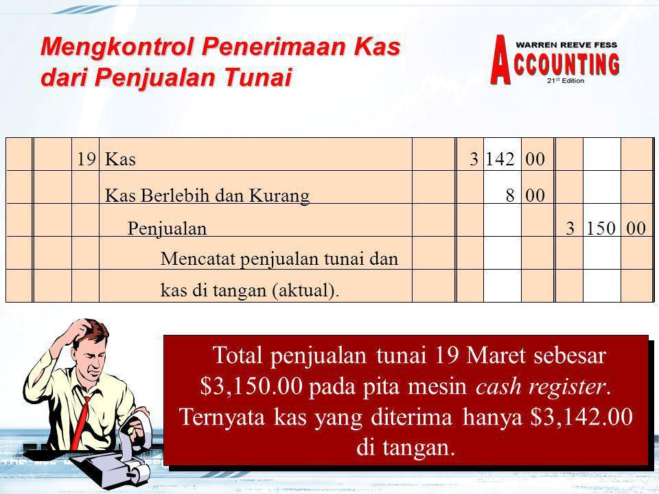 Mengkontrol Penerimaan Kas dari Penjualan Tunai