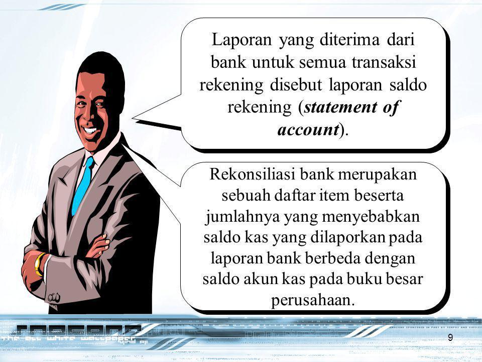 Laporan yang diterima dari bank untuk semua transaksi rekening disebut laporan saldo rekening (statement of account).