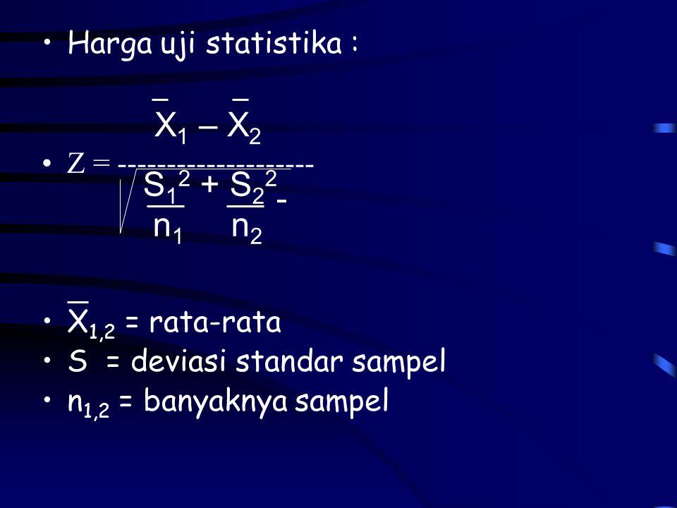 X1 – X2 S12 + S22 n1 n2 Harga uji statistika :
