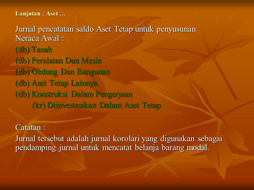 Jurnal pencatatan saldo Aset Tetap untuk penyusunan Neraca Awal :