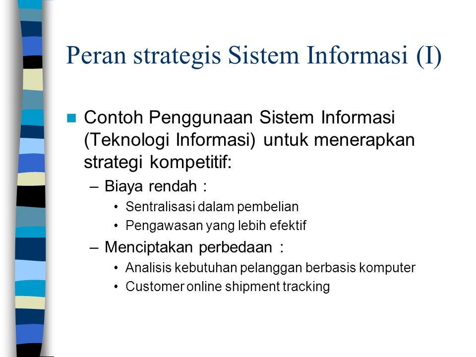Peran strategis Sistem Informasi (I)