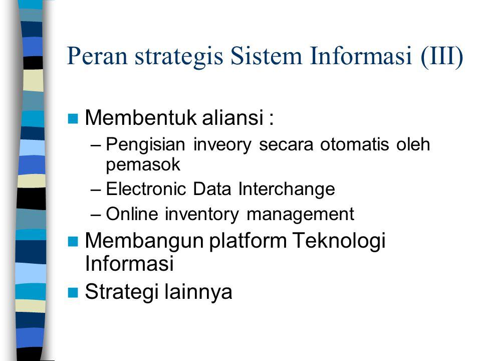Peran strategis Sistem Informasi (III)