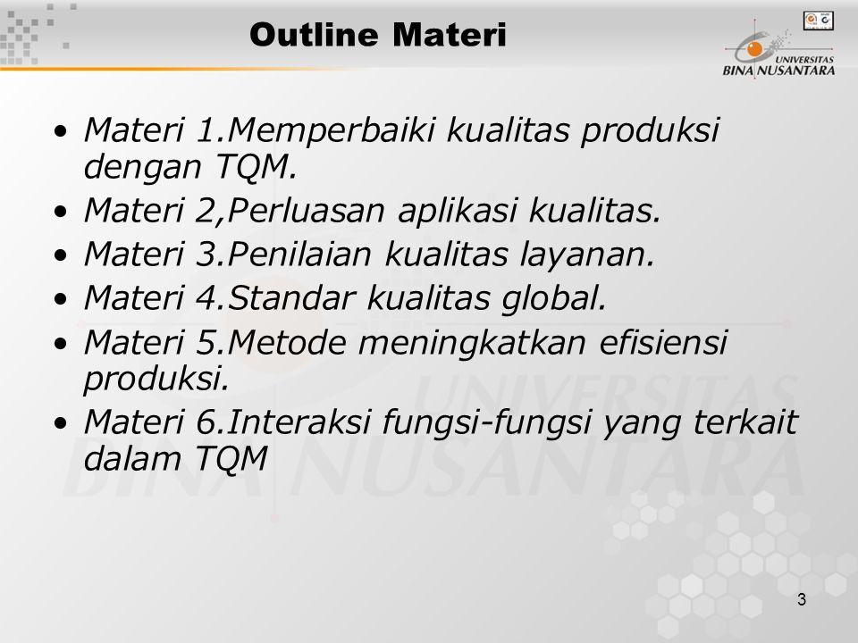 Outline Materi Materi 1.Memperbaiki kualitas produksi dengan TQM. Materi 2,Perluasan aplikasi kualitas.