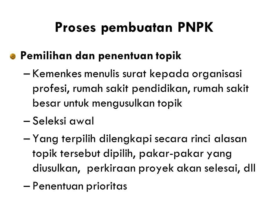 Proses pembuatan PNPK Pemilihan dan penentuan topik