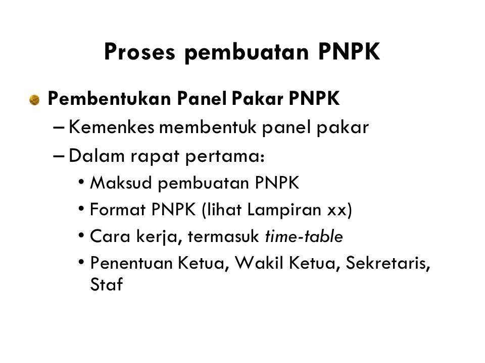 Proses pembuatan PNPK Pembentukan Panel Pakar PNPK