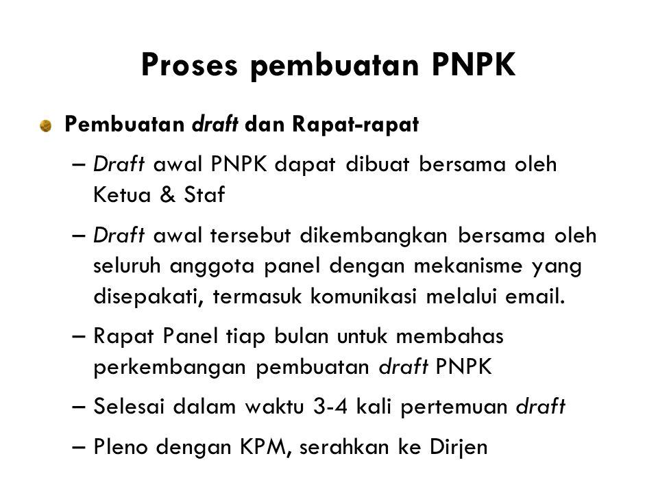 Proses pembuatan PNPK Pembuatan draft dan Rapat-rapat