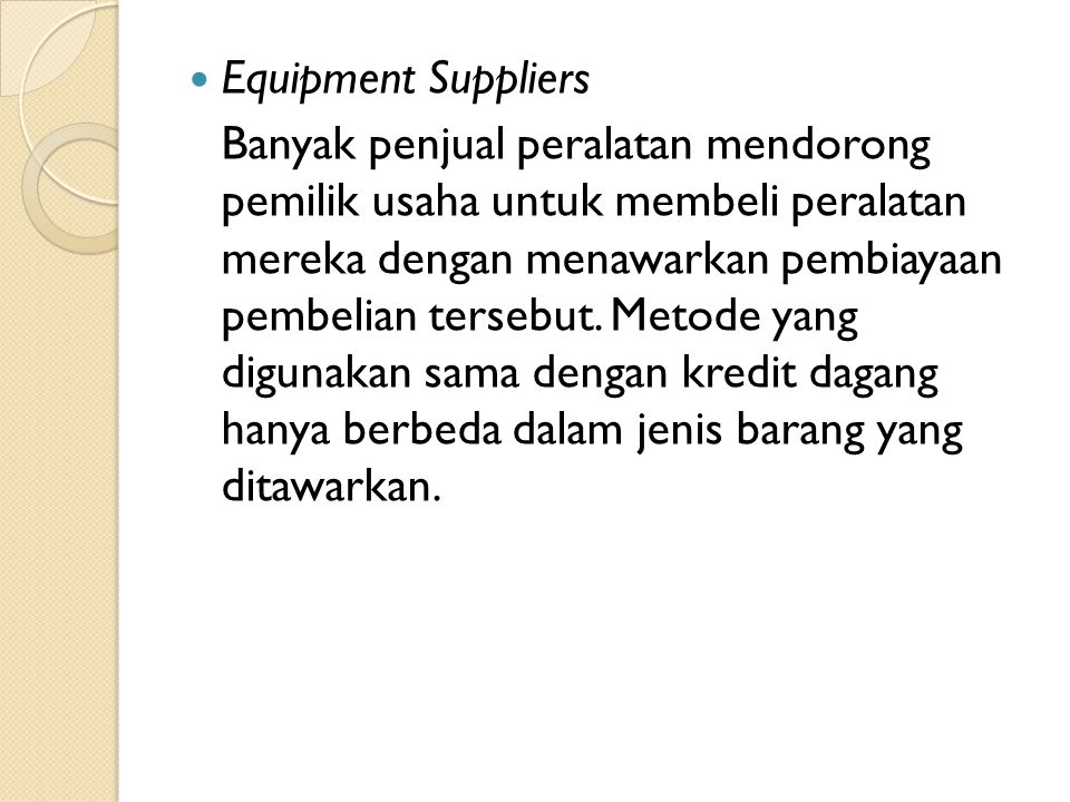 Equipment Suppliers