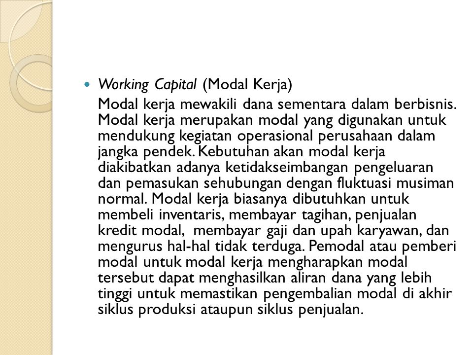 Working Capital (Modal Kerja)
