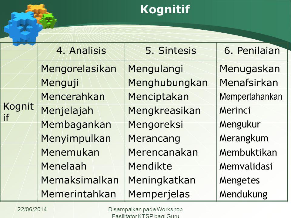 Kognitif Kognitif 4. Analisis 5. Sintesis 6. Penilaian Mengorelasikan