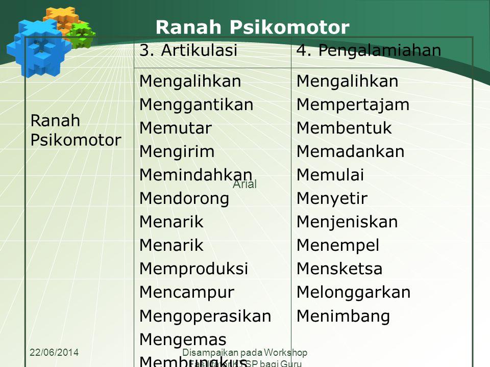 Ranah Psikomotor Ranah Psikomotor 3. Artikulasi 4. Pengalamiahan