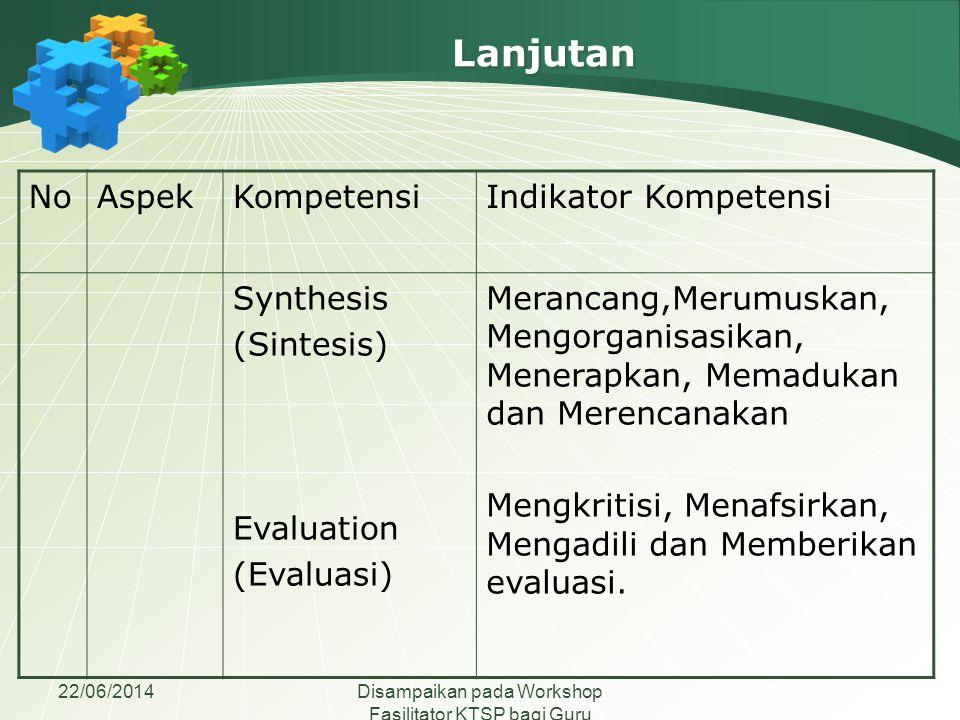 Lanjutan No Aspek Kompetensi Indikator Kompetensi Synthesis (Sintesis)
