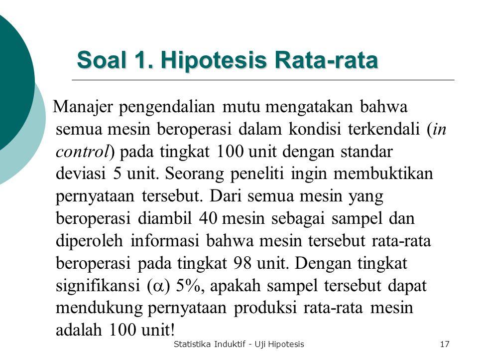 Soal 1. Hipotesis Rata-rata