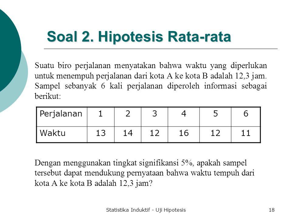 Soal 2. Hipotesis Rata-rata