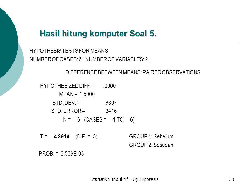 Hasil hitung komputer Soal 5.