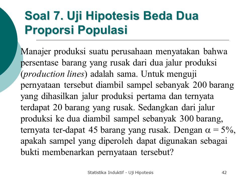 Soal 7. Uji Hipotesis Beda Dua Proporsi Populasi