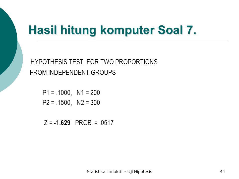 Hasil hitung komputer Soal 7.