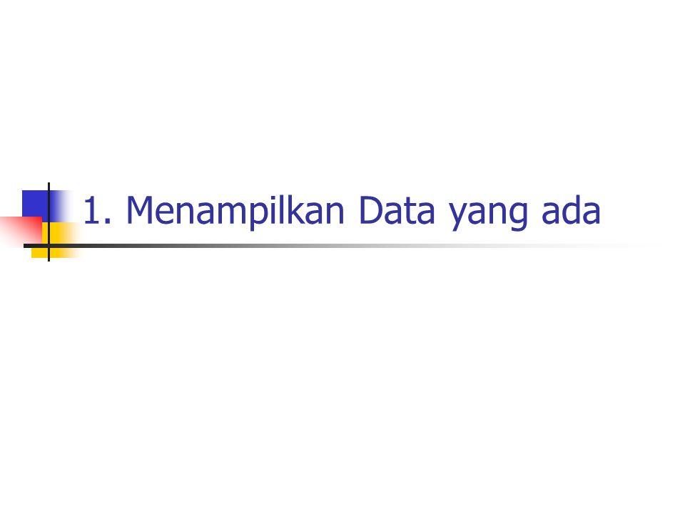 1. Menampilkan Data yang ada
