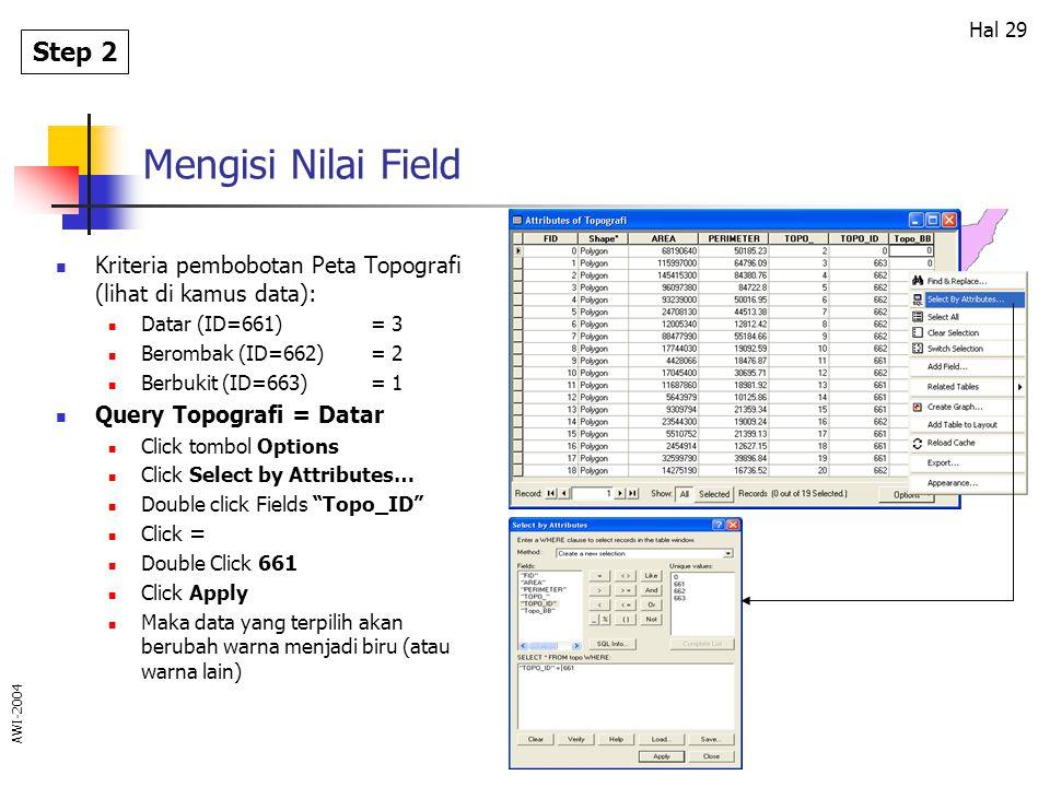 Mengisi Nilai Field Step 2