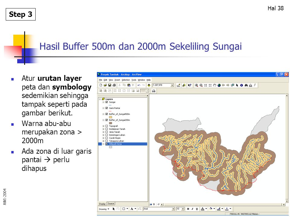 Hasil Buffer 500m dan 2000m Sekeliling Sungai