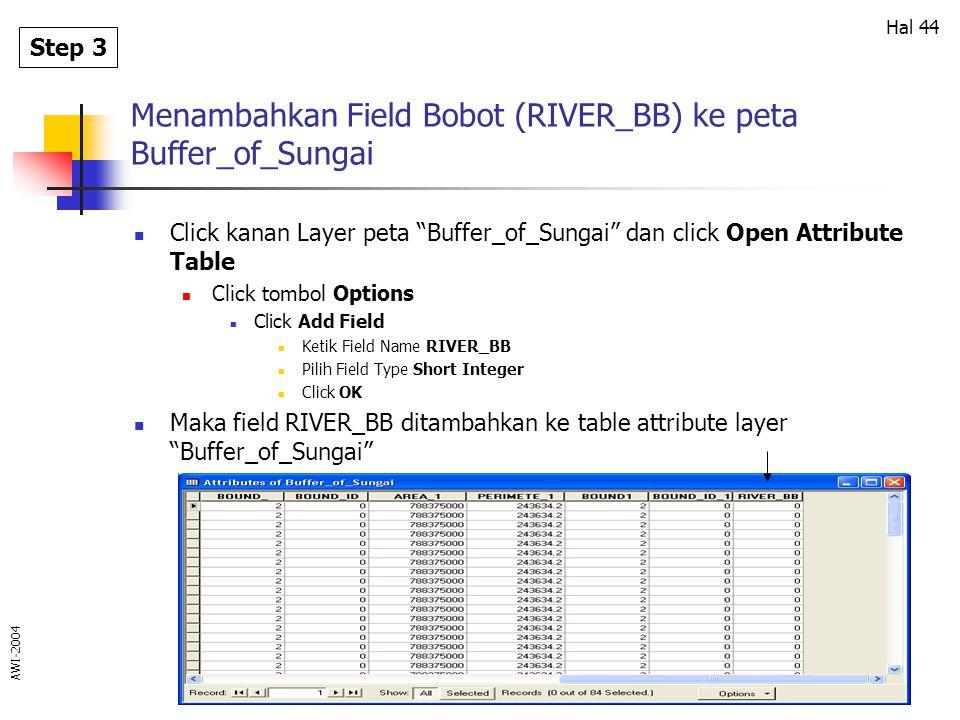Menambahkan Field Bobot (RIVER_BB) ke peta Buffer_of_Sungai