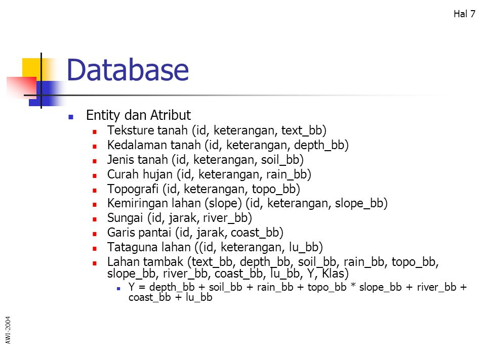 Database Entity dan Atribut Teksture tanah (id, keterangan, text_bb)