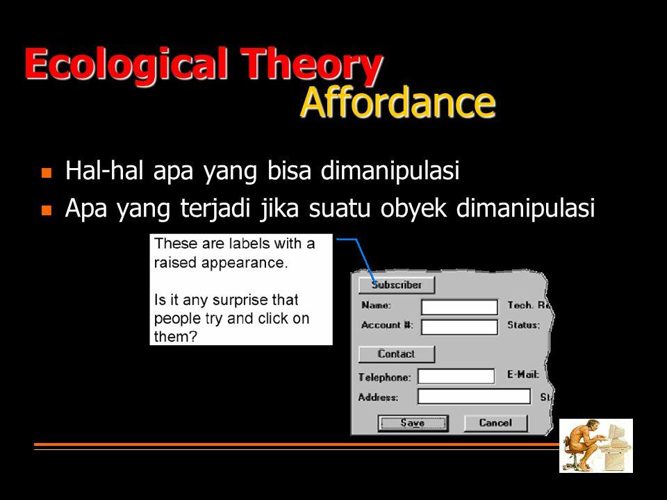 Ecological Theory Affordance Hal-hal apa yang bisa dimanipulasi