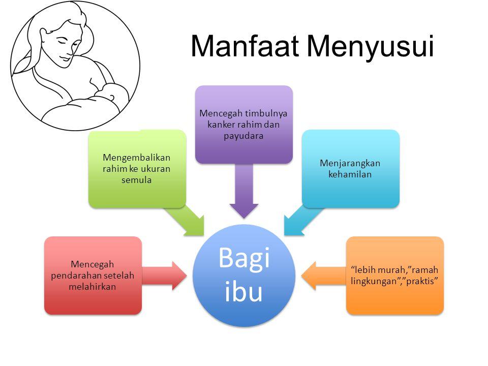 Bagi ibu Manfaat Menyusui Mencegah timbulnya kanker rahim dan payudara