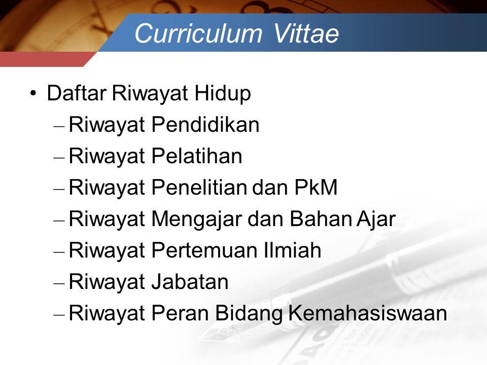 Curriculum Vittae Daftar Riwayat Hidup Riwayat Pendidikan