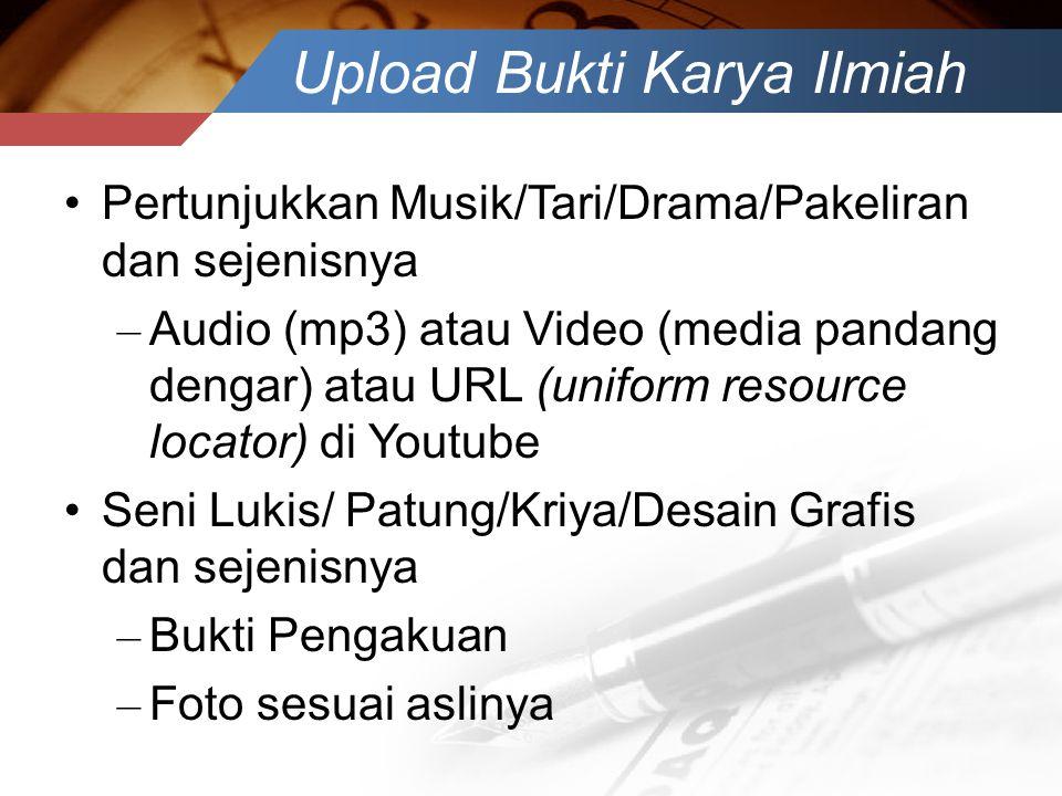Upload Bukti Karya Ilmiah