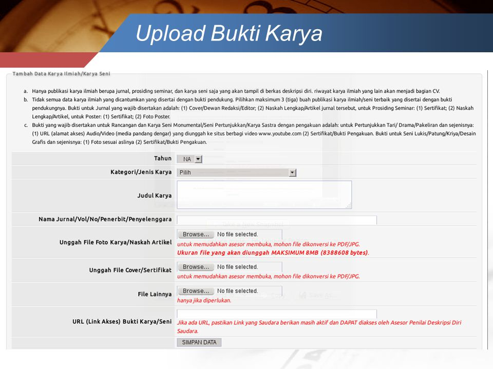 Upload Bukti Karya
