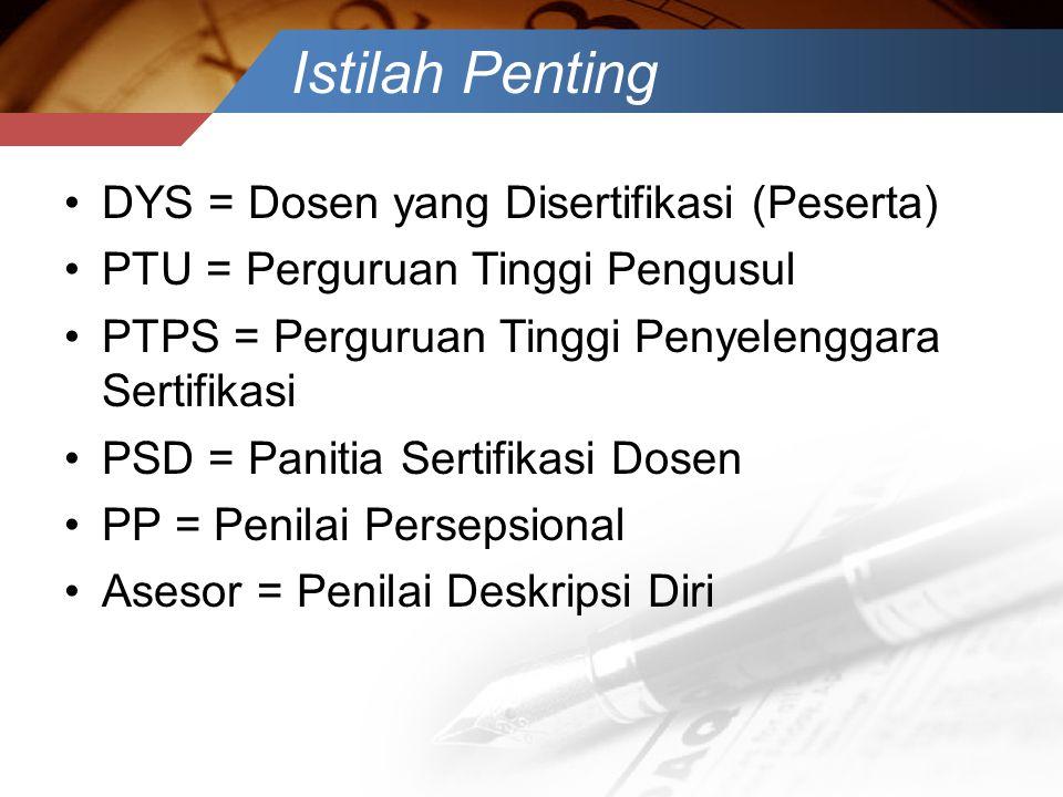 Istilah Penting DYS = Dosen yang Disertifikasi (Peserta)