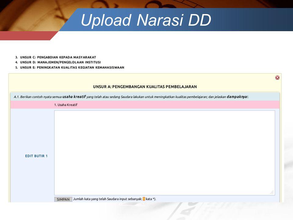 Upload Narasi DD