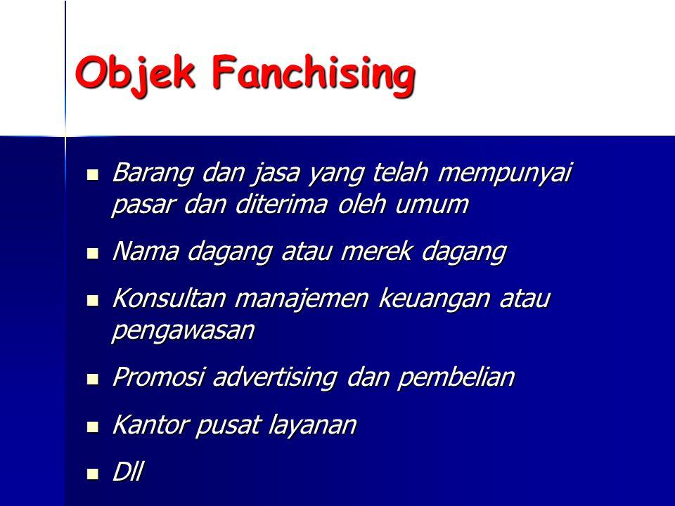 Objek Fanchising Barang dan jasa yang telah mempunyai pasar dan diterima oleh umum. Nama dagang atau merek dagang.