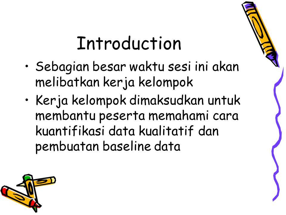 Introduction Sebagian besar waktu sesi ini akan melibatkan kerja kelompok.