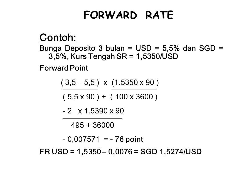 FORWARD RATE Contoh: Bunga Deposito 3 bulan = USD = 5,5% dan SGD = 3,5%, Kurs Tengah SR = 1,5350/USD.